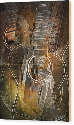 Guitar Works Wood Print by Randall Nyhof