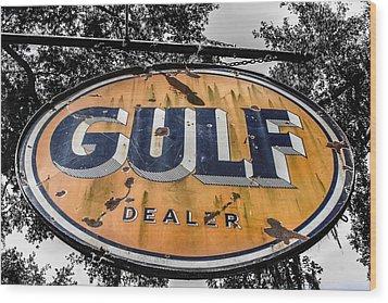 Gulf Dealer Sign Wood Print by Steven  Taylor