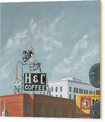 H And C Coffee Wood Print by Todd Bandy