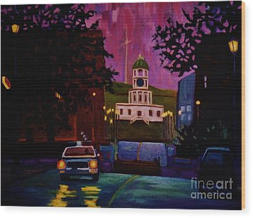Halifax Night Patrol And Town Clock Wood Print by John Malone