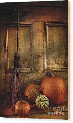Halloween Night Wood Print by Sandra Cunningham