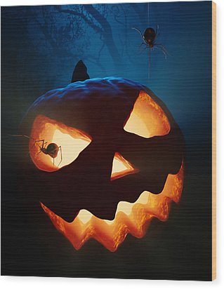 Halloween Pumpkin And Spiders Wood Print by Johan Swanepoel