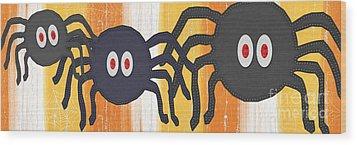Halloween Spiders Sign Wood Print by Linda Woods