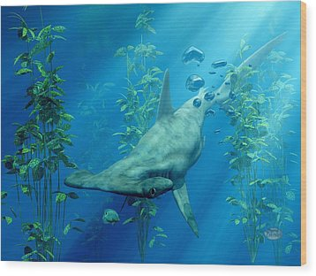 Hammerhead Art Wood Print by Daniel Eskridge