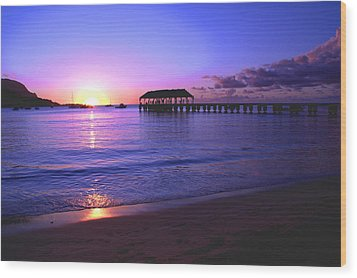 Hanalei Bay Pier Sunset Wood Print by Brian Harig