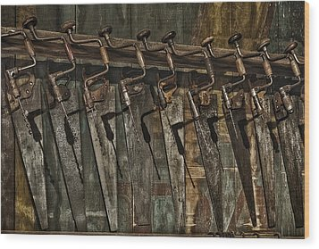 Handy Man Tools Wood Print by Susan Candelario