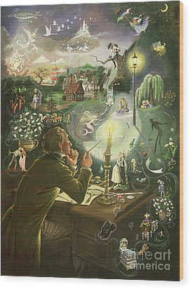 Hans Christian Andersen Wood Print by Anne Grahame Johnstone