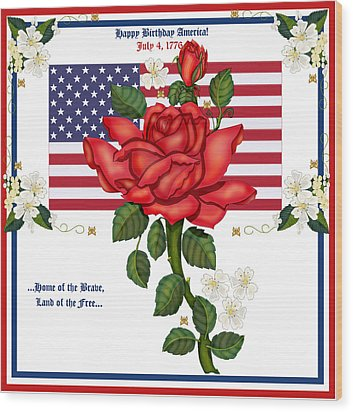 Happy Birthday America Wood Print by Anne Norskog