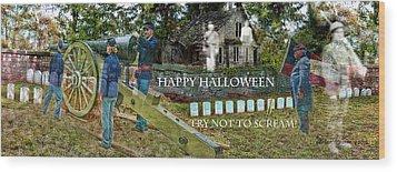 Happy Halloween-try Not To Scream Wood Print by EricaMaxine  Price