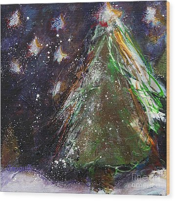 Happy Holidays Red And Gold Wishing Stars Wood Print by Johane Amirault