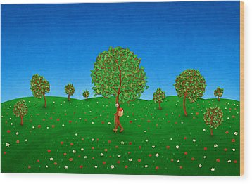 Happy Walking Tree Wood Print by Gianfranco Weiss