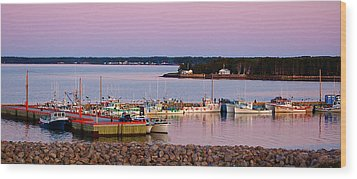 Harbour Sunset Wood Print by Ron Haist