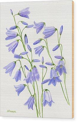 Harebells Wood Print by Sharon Freeman