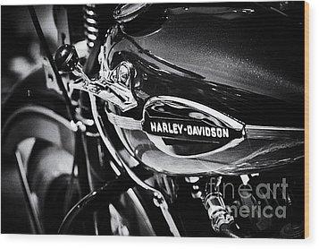 Harley Davidson Monochrome Wood Print by Tim Gainey