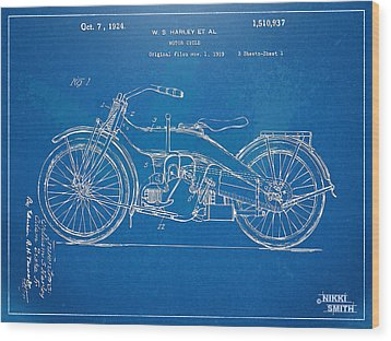 Harley-davidson Motorcycle 1924 Patent Artwork Wood Print by Nikki Marie Smith