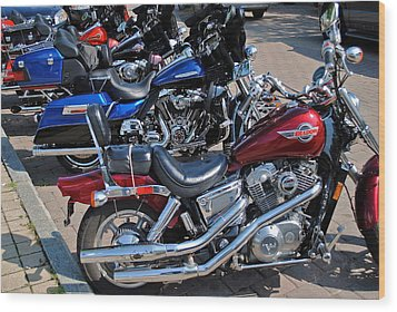 Harley Davidson Wood Print by Frozen in Time Fine Art Photography