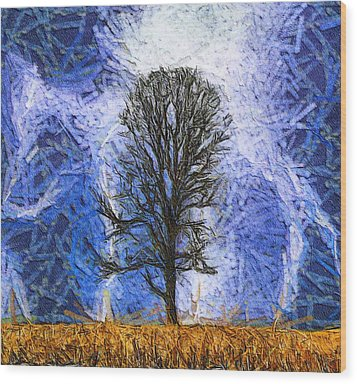 Harvest Storm Wood Print by Dan Sproul