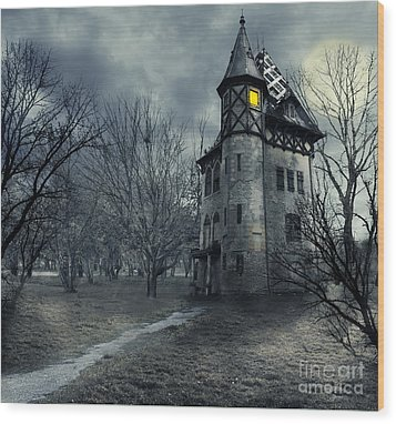 Haunted House Wood Print by Jelena Jovanovic