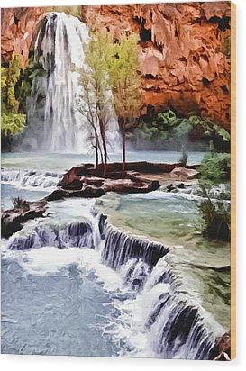 Havasau Falls Painting Wood Print by Bob and Nadine Johnston