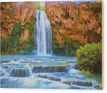 Havasu Falls Wood Print by David Wagner