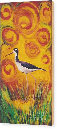 Hawaiian Stilt Sunset Wood Print by Anna Skaradzinska