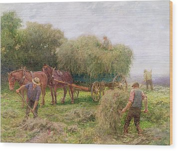 Haymaking Wood Print by Arthur Hopkins