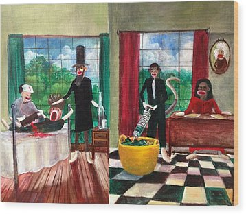Healthcare Then And Now Wood Print by Randol Burns