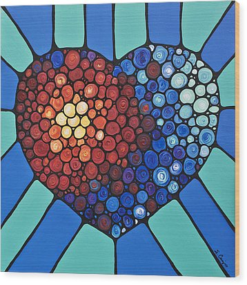Heart Art - Love Conquers All 2  Wood Print by Sharon Cummings