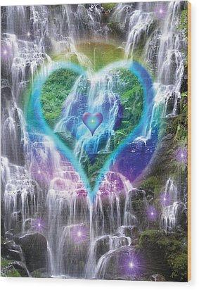 Heart Of Waterfalls Wood Print by Alixandra Mullins