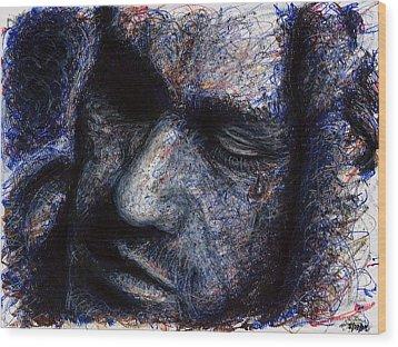 Heath Ledger - Blue Wood Print by Rachel Scott
