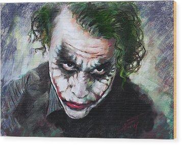 Heath Ledger The Dark Knight Wood Print by Viola El