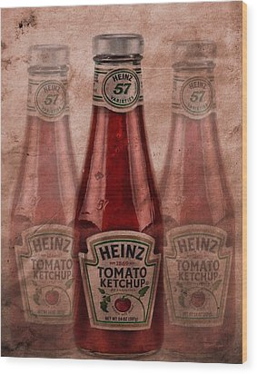 Heinz Tomato Ketchup Wood Print by Dan Sproul