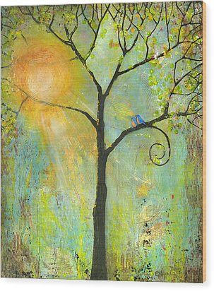 Hello Sunshine Tree Birds Sun Art Print Wood Print by Blenda Studio