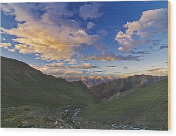 Hemis Sunset Wood Print by Aaron S Bedell