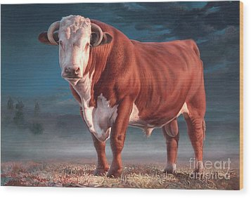 Hereford Bull Wood Print by Hans Droog
