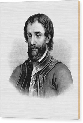 Wood Print featuring the photograph Hernando De Soto, Spanish Conquistador by British Library