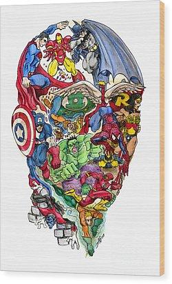 Heroic Mind Wood Print by John Ashton Golden