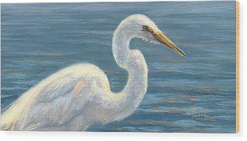 Heron Light Wood Print by Lucie Bilodeau