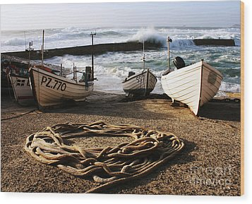 High Tide In Sennen Cove Cornwall Wood Print by Terri Waters