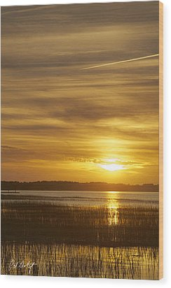 High Tide In The Marsh Wood Print by Phill Doherty