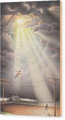 High Wire - Dream Series No. 4 Wood Print by Amy S Turner