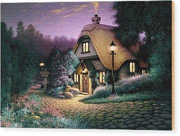 Hillcrest Cottage Wood Print by Steve Read