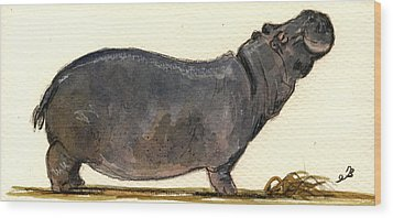 Hippo Happy Wood Print by Juan  Bosco