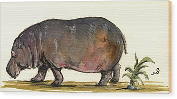 Hippo Wood Print by Juan  Bosco