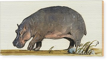 Hippo Walk Wood Print by Juan  Bosco