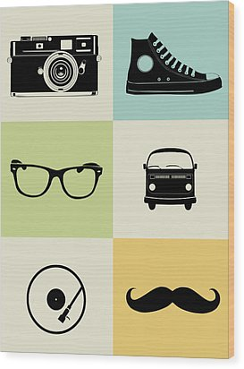 Hipster Mix Poster Wood Print by Naxart Studio