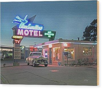 Historic Rt. 66 Blue Swallow Motel Wood Print by Gordon Beck