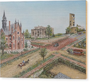 Historic Street - Lawrence Kansas Wood Print by Mary Ellen Anderson