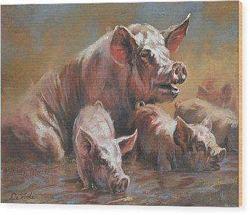 Hog Heaven Wood Print by Mia DeLode