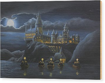 Hogwarts At Night Wood Print by Karen Coombes